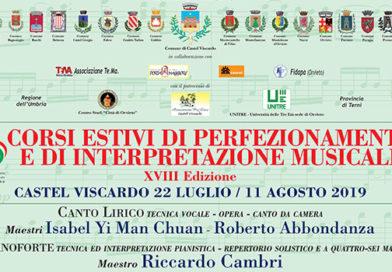 """Al via a Castel Viscardo la 18A edizione dei """"Corsi Estivi di Perfezionamento musicale"""""""